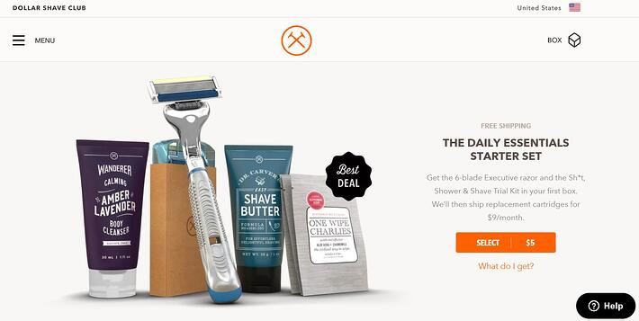 dollar shave club subscription box