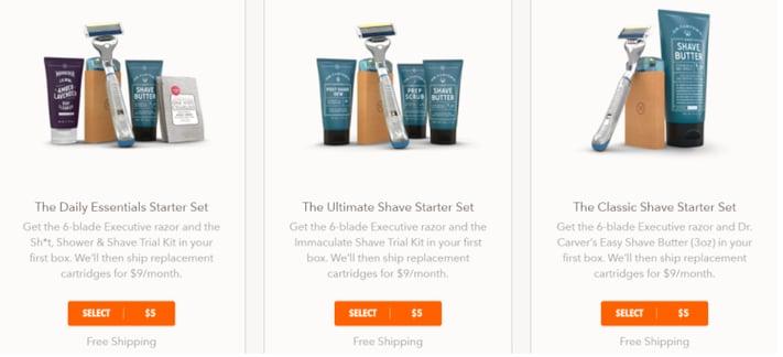 Dollar shave club bundle
