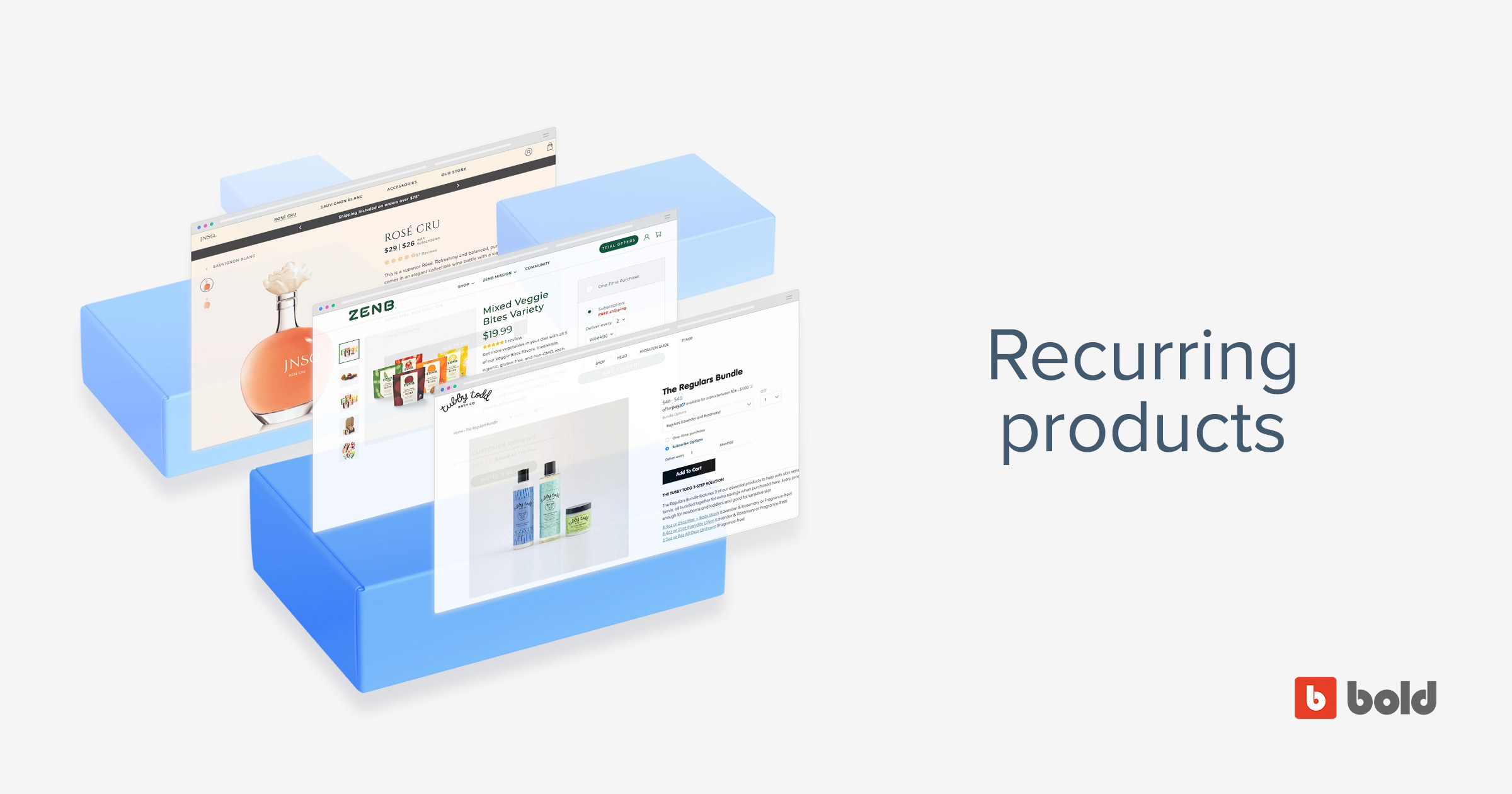 "Blog banner with stacked images of web browsers and words ""recurring products"""