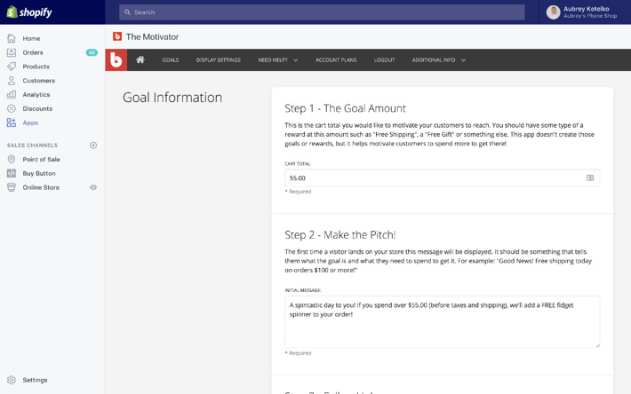 "Sales Motivator Goal Creation screen, showing the goal amount and the ""make the pitch"" message"