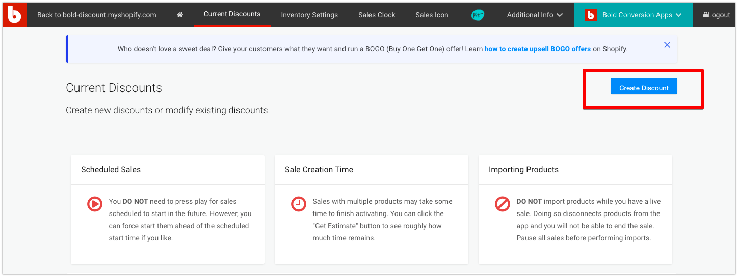 Create a discount for your storewide sales