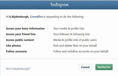 Crowdfire authorization