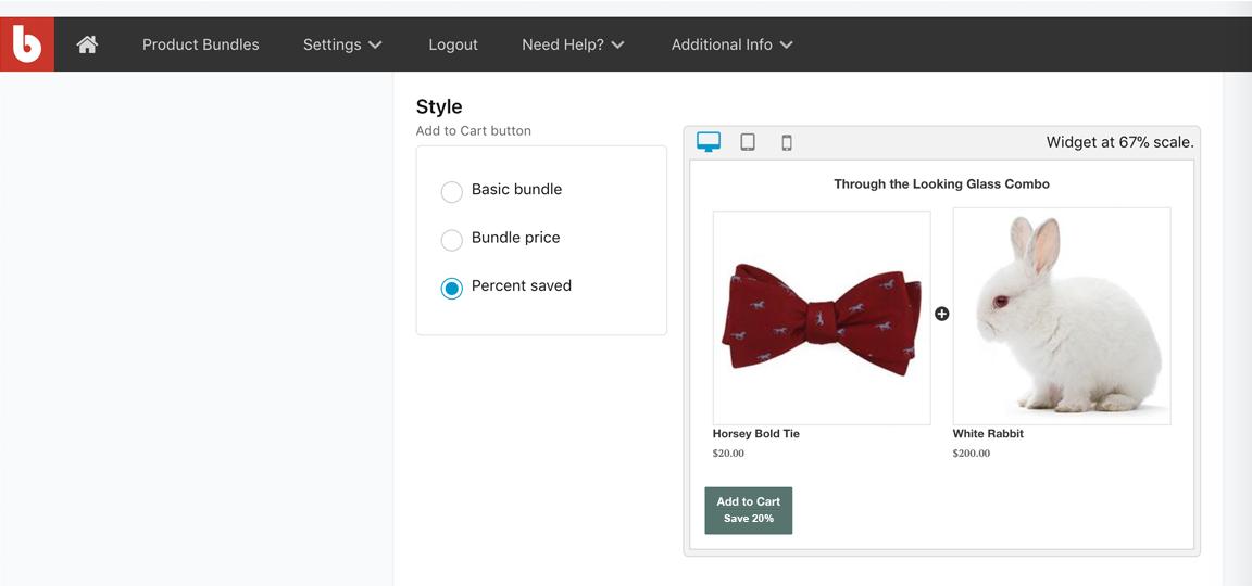 Customize bundle widget