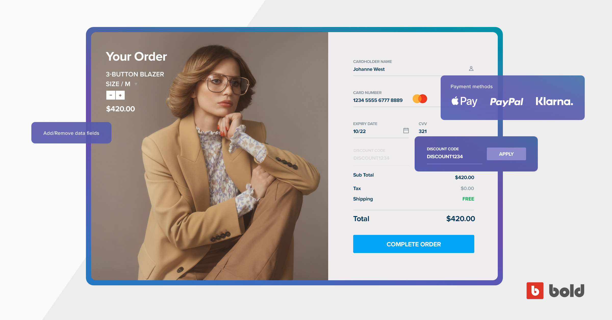 Banner showing ways to customize a checkout