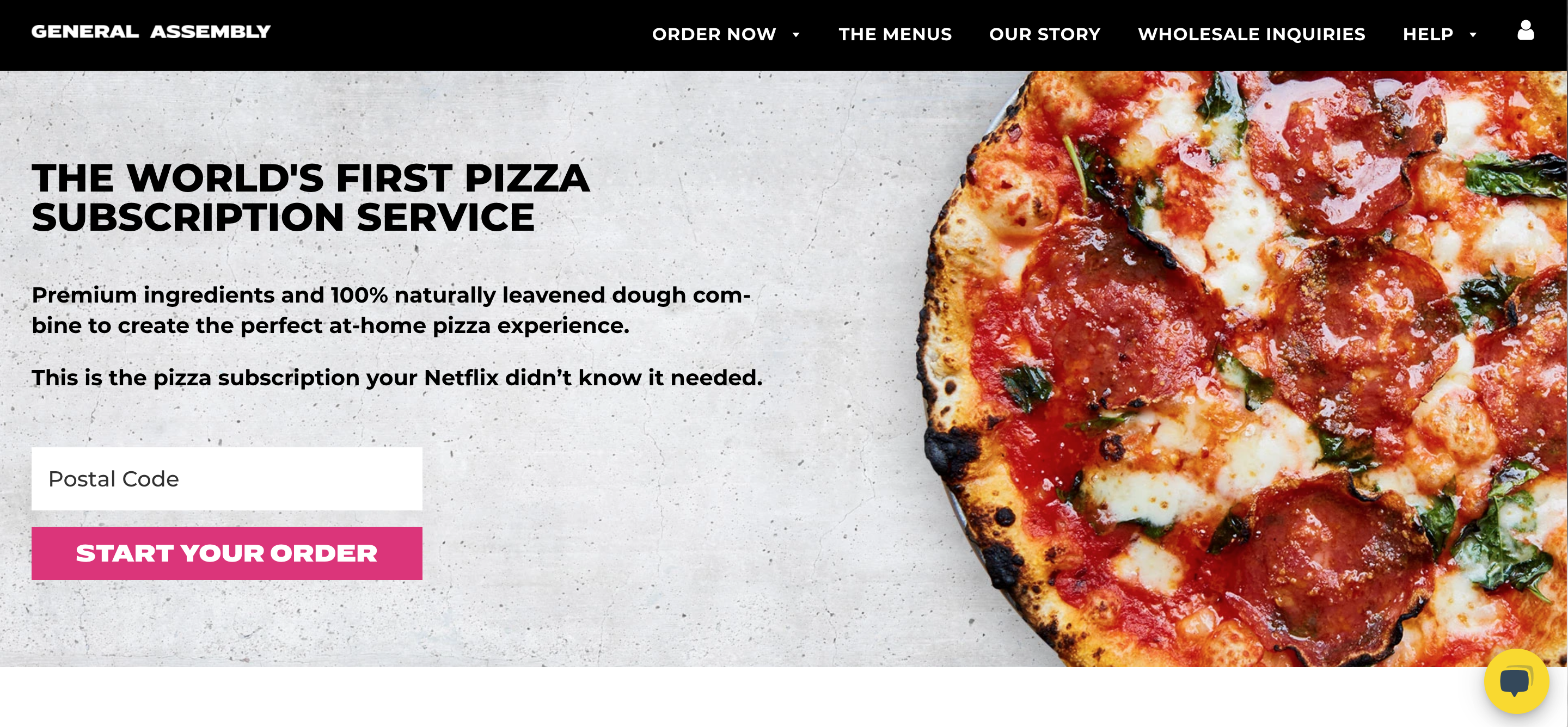 General Assembly Pizza brick and mortar subscription