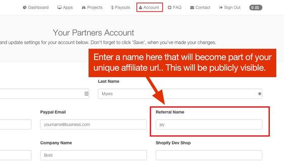 Create Bold Affiliate Referral Name