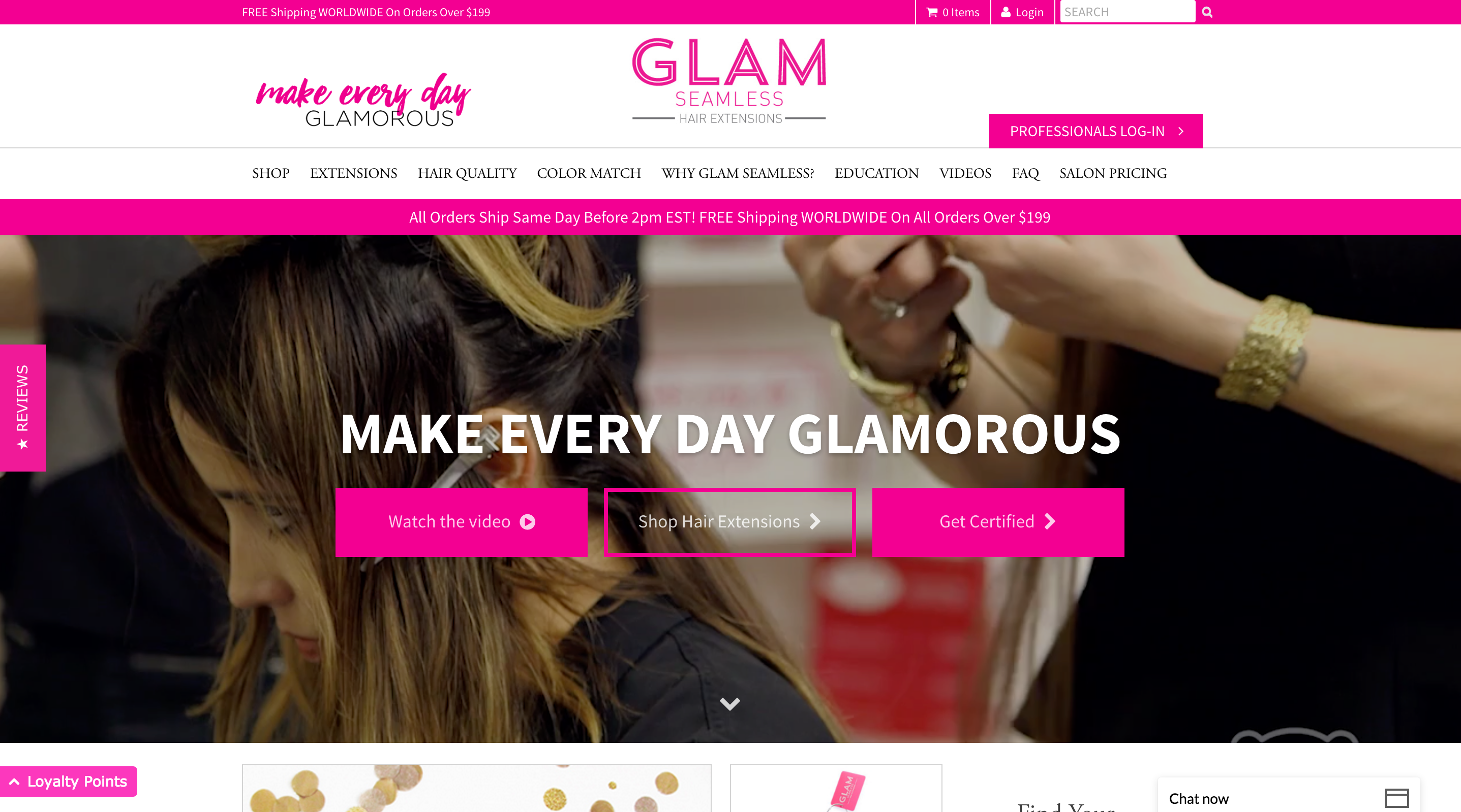 glam seamless front of website