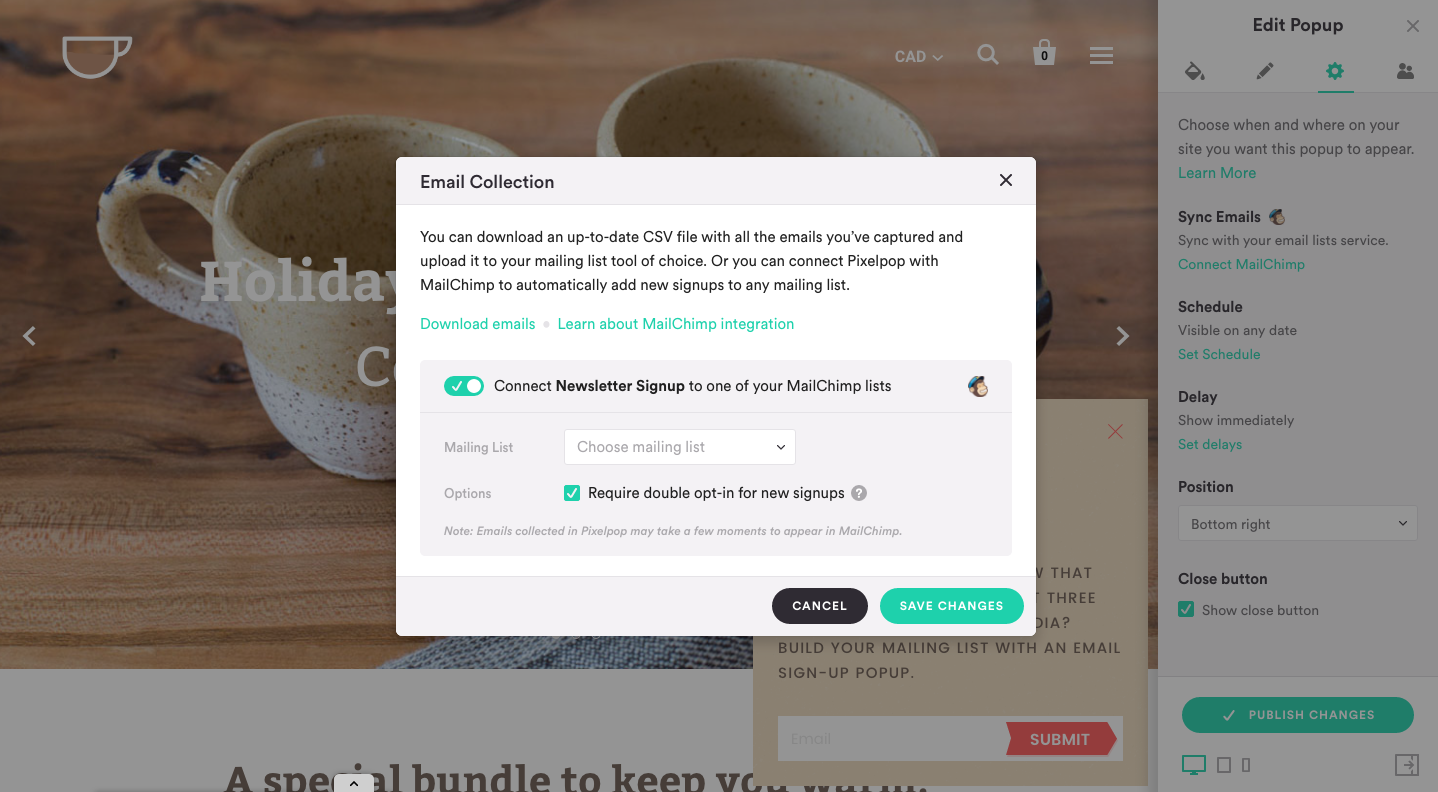 pixelpop-mailchimp-integration