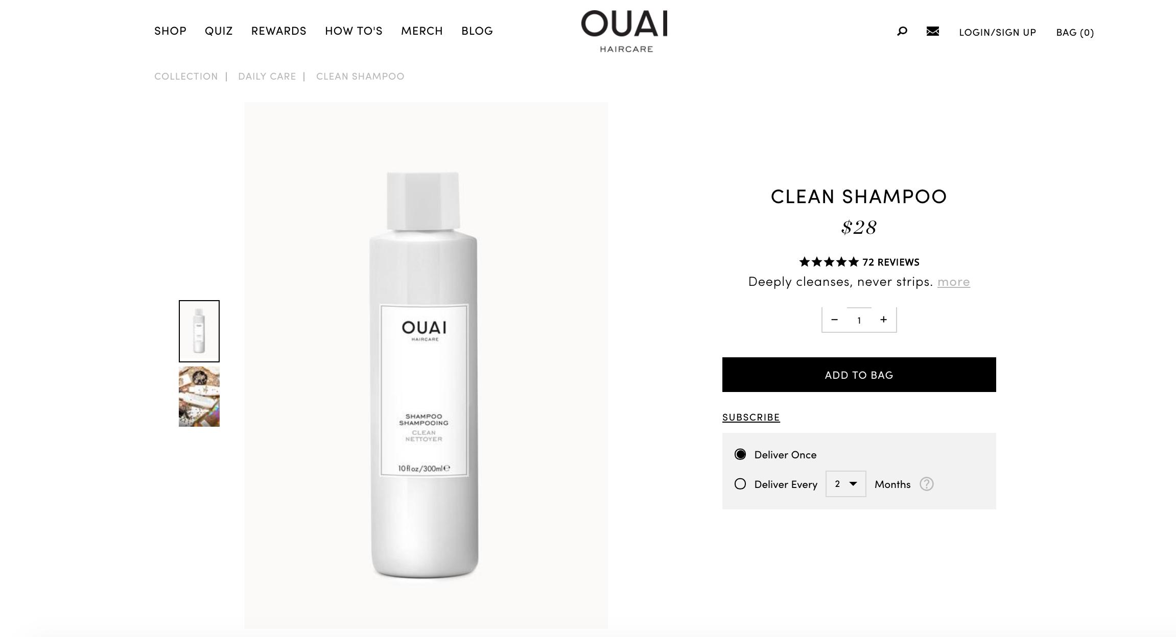 Ouai shampoo subscription