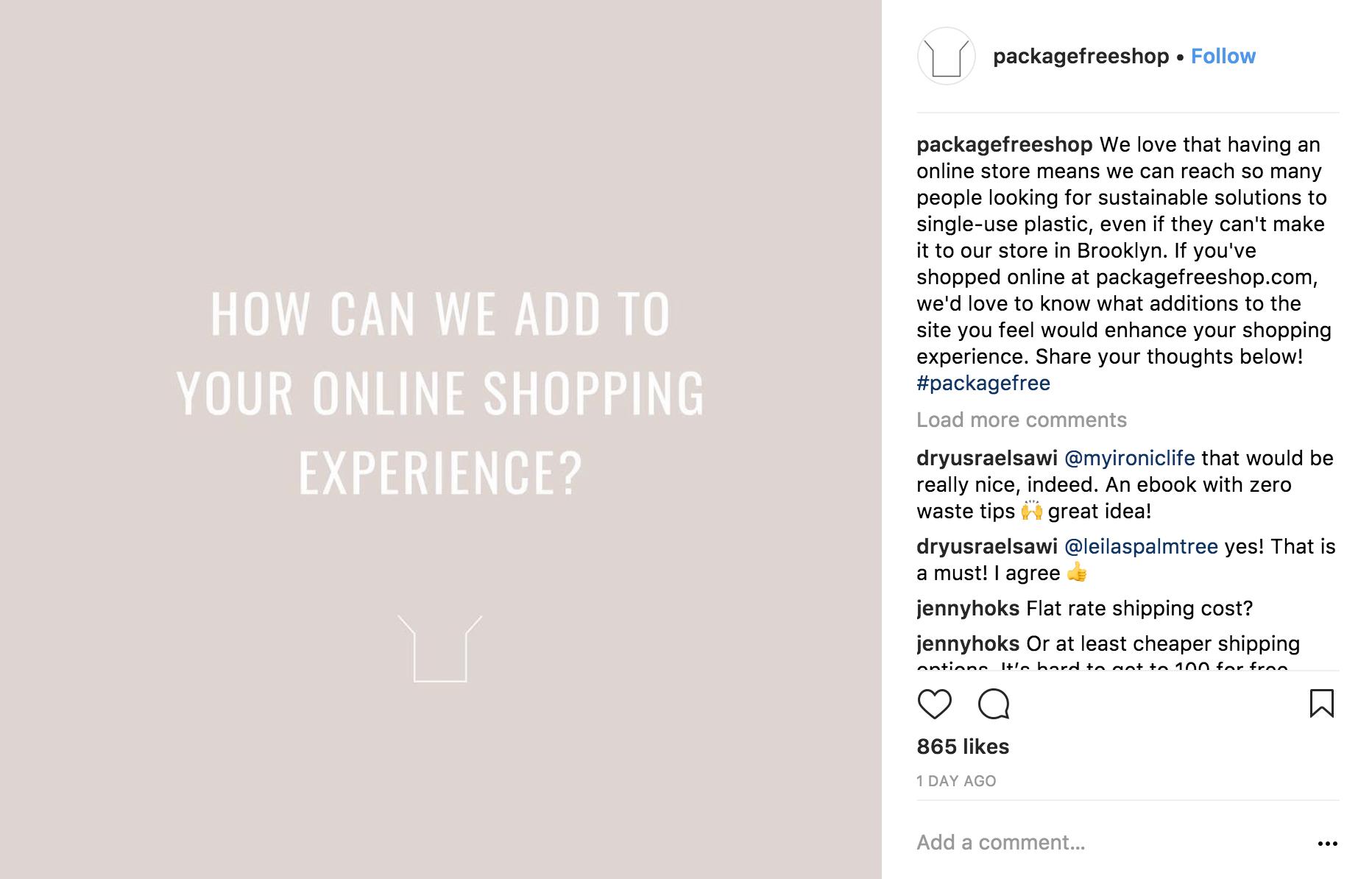 Package Free Shop customer feedback post