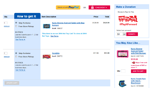 Poor checkout page design