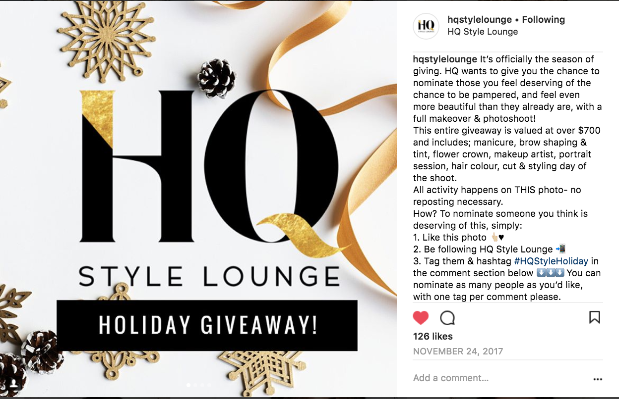 Instagram holiday promotion