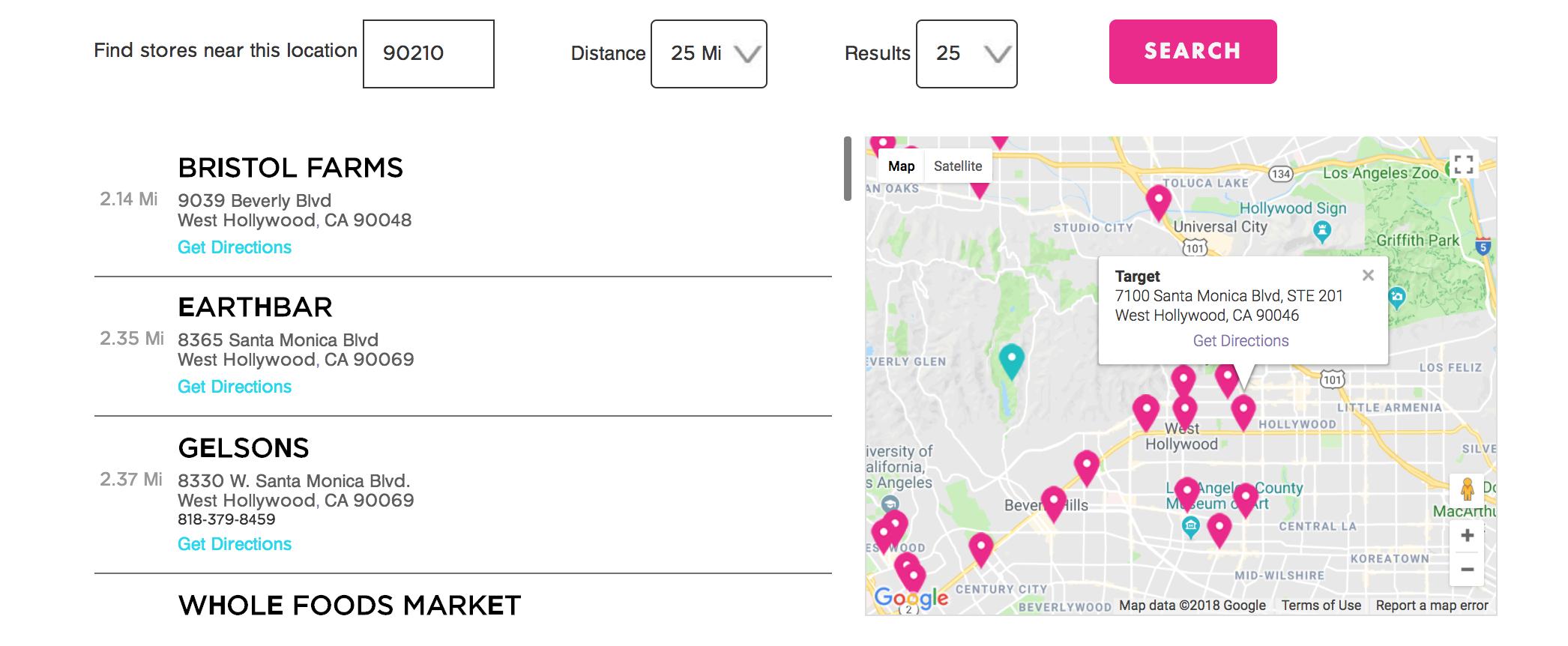 store locator search results