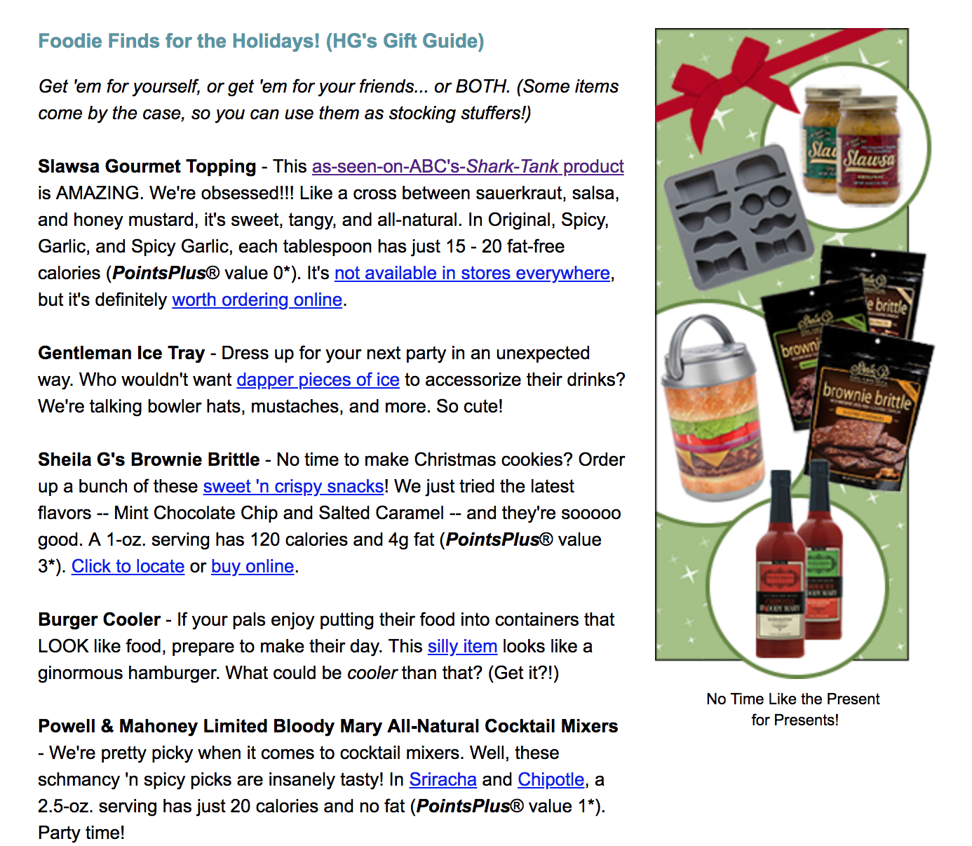 Hungry Girl email newsletter featuring Salwsa