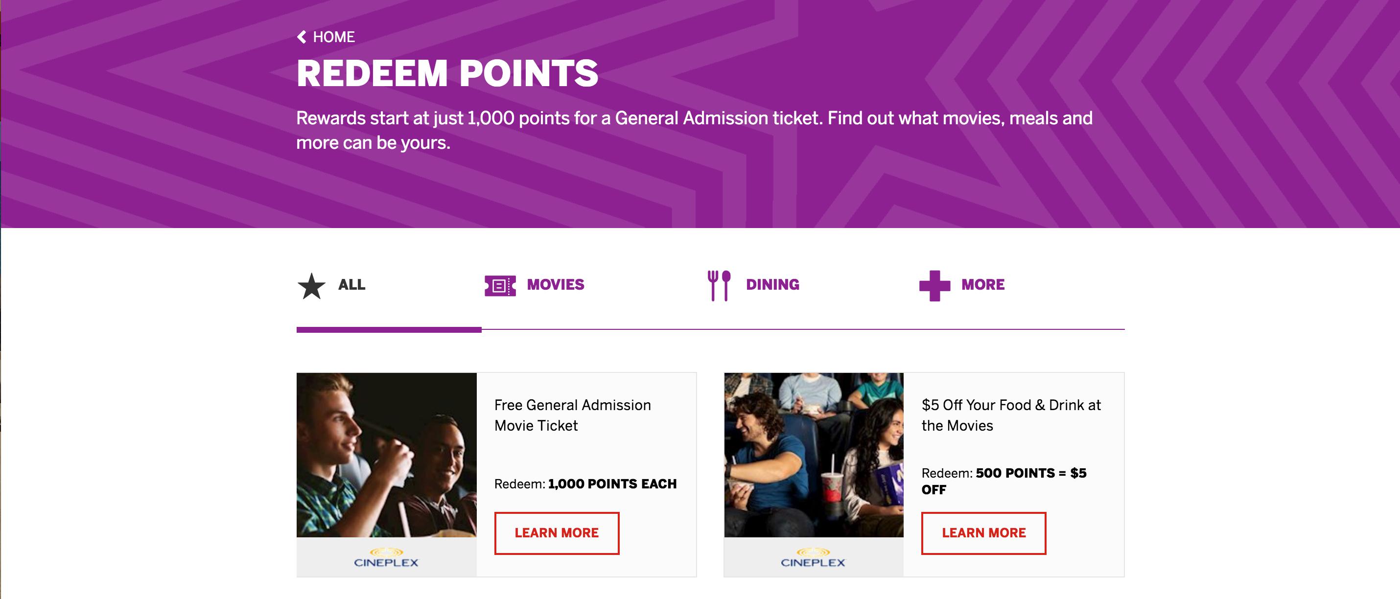Cineplex scene program: rewards