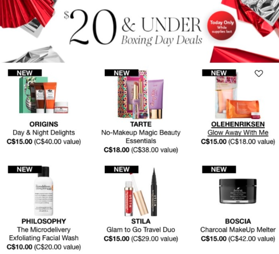 $20 & under Boxing Day Deals poster from Sephora