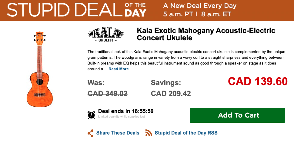Stupid Deal of the Day promotion banner from Musician's Friend selling Ukulele