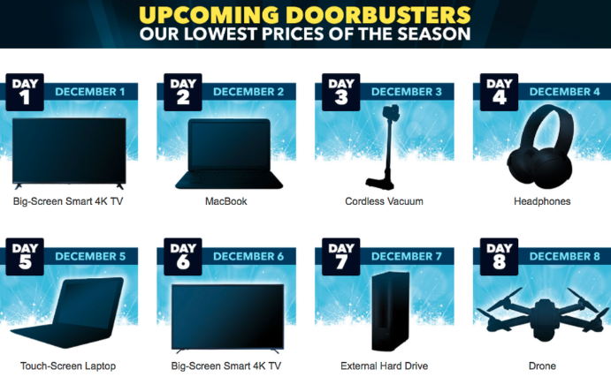 8 days of doorbusters banner from Best Buy
