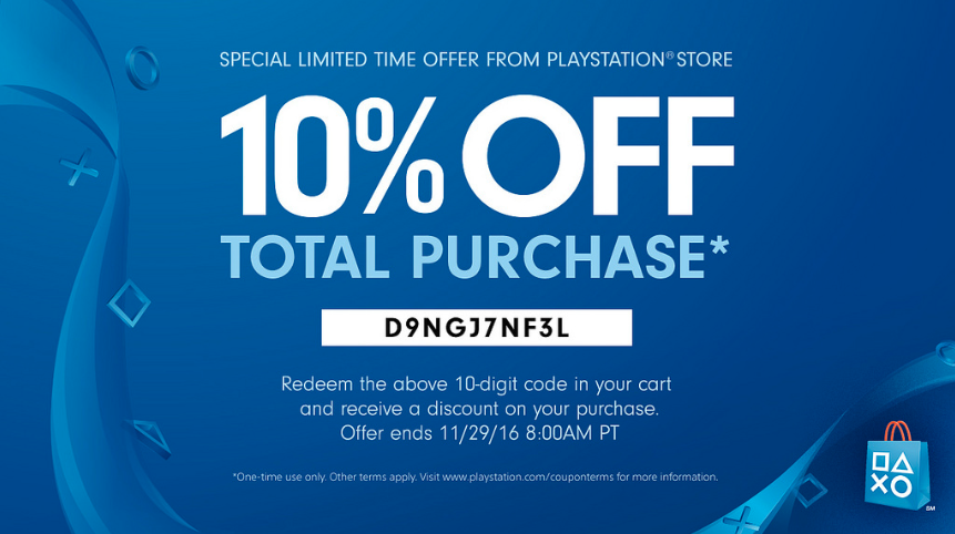10% off total purchase banner from PS4
