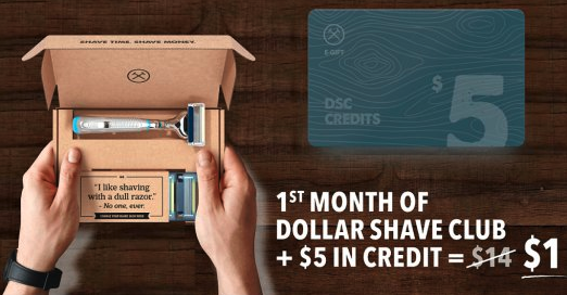 Dollar shave club ad offering 1st month of subscription for one dollar