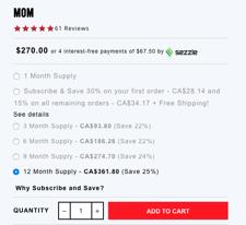 A screenshot of Hairtamins' checkout screen
