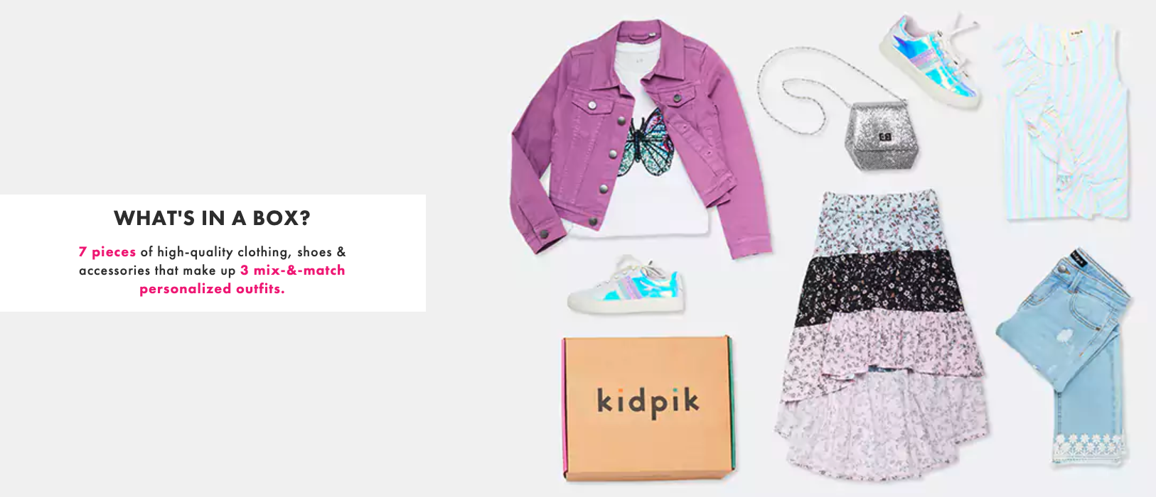 Image showing all the clothes that come in a Kidpik box: coat, shoes, purse, dress, blouse, jeans