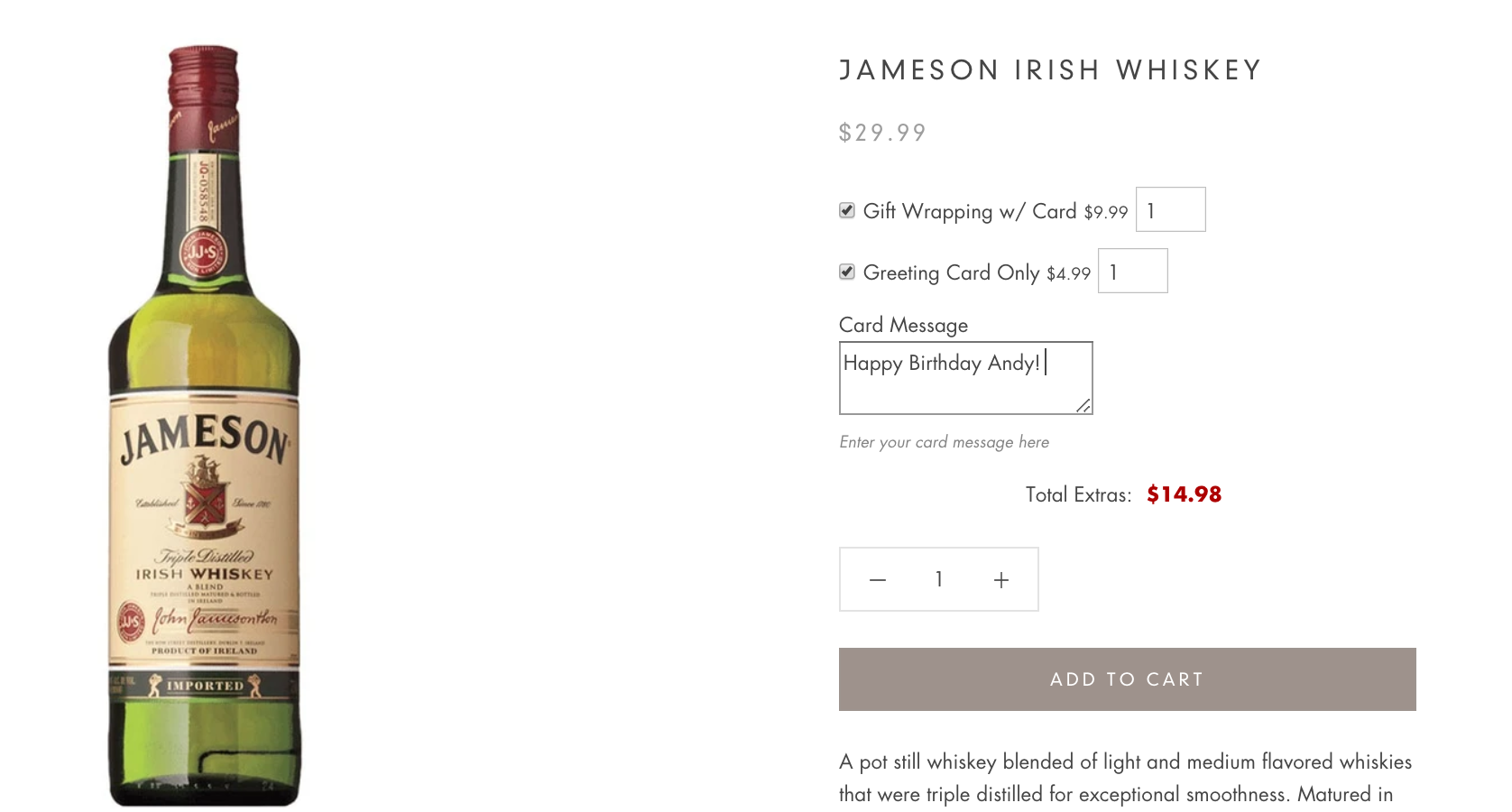 Image of bottle of Jameson's Irish Whiskey
