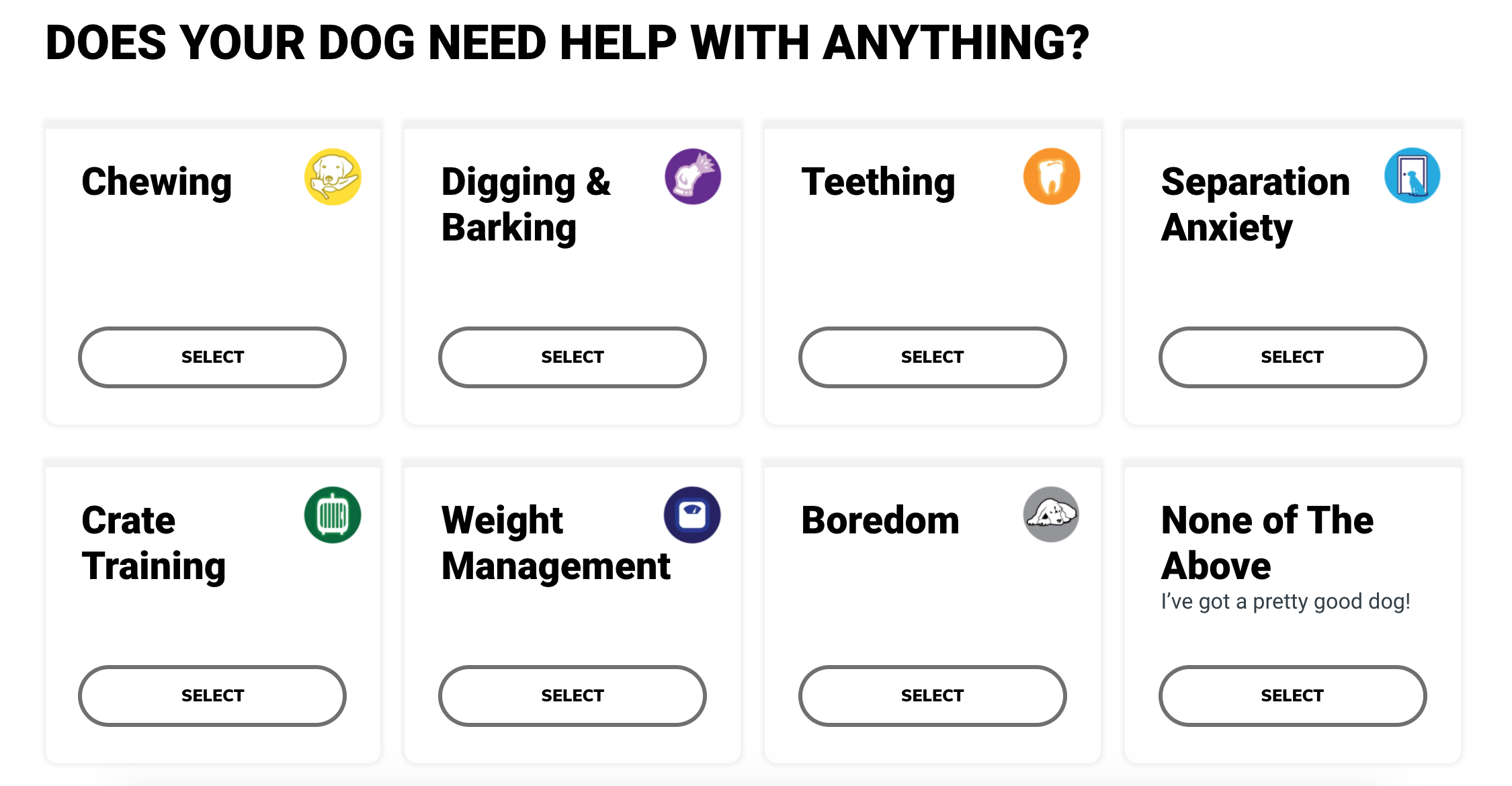 Panels to select your dog's issues