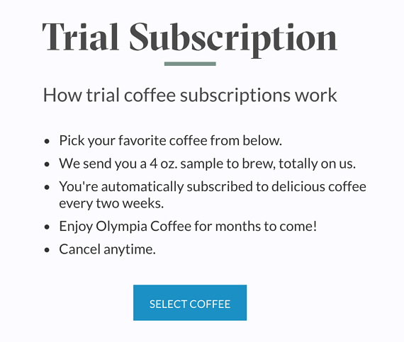 "Explaining how ""Olympia Coffee's"" subscription works"