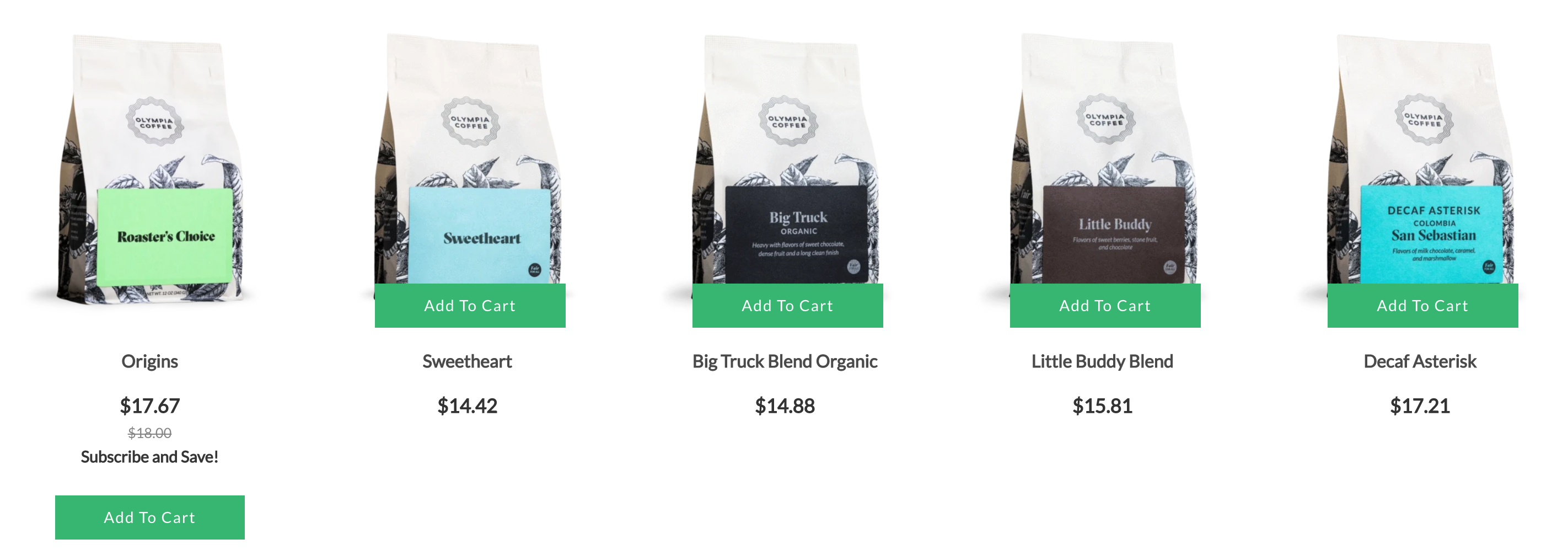 Row of coffee bean bags