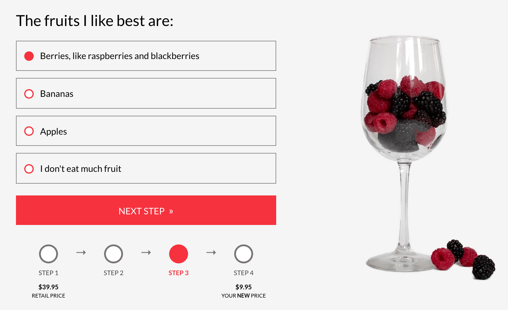 Wine quiz about favorite fruit with wineglass full of berries