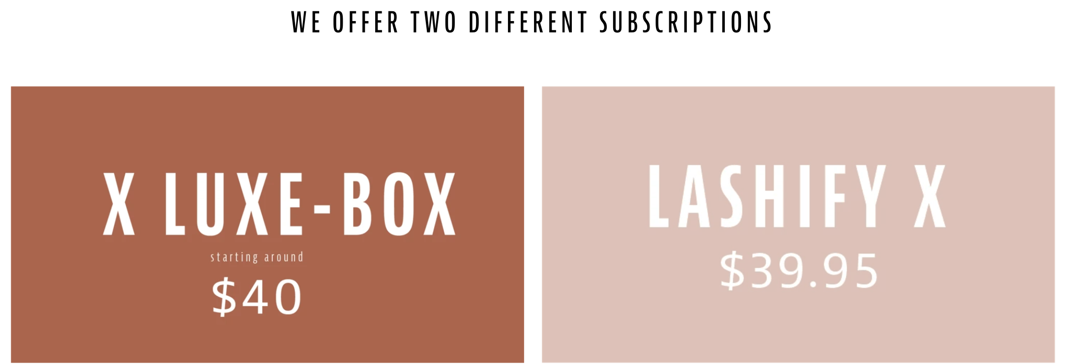 Brown banner showing two subscription options