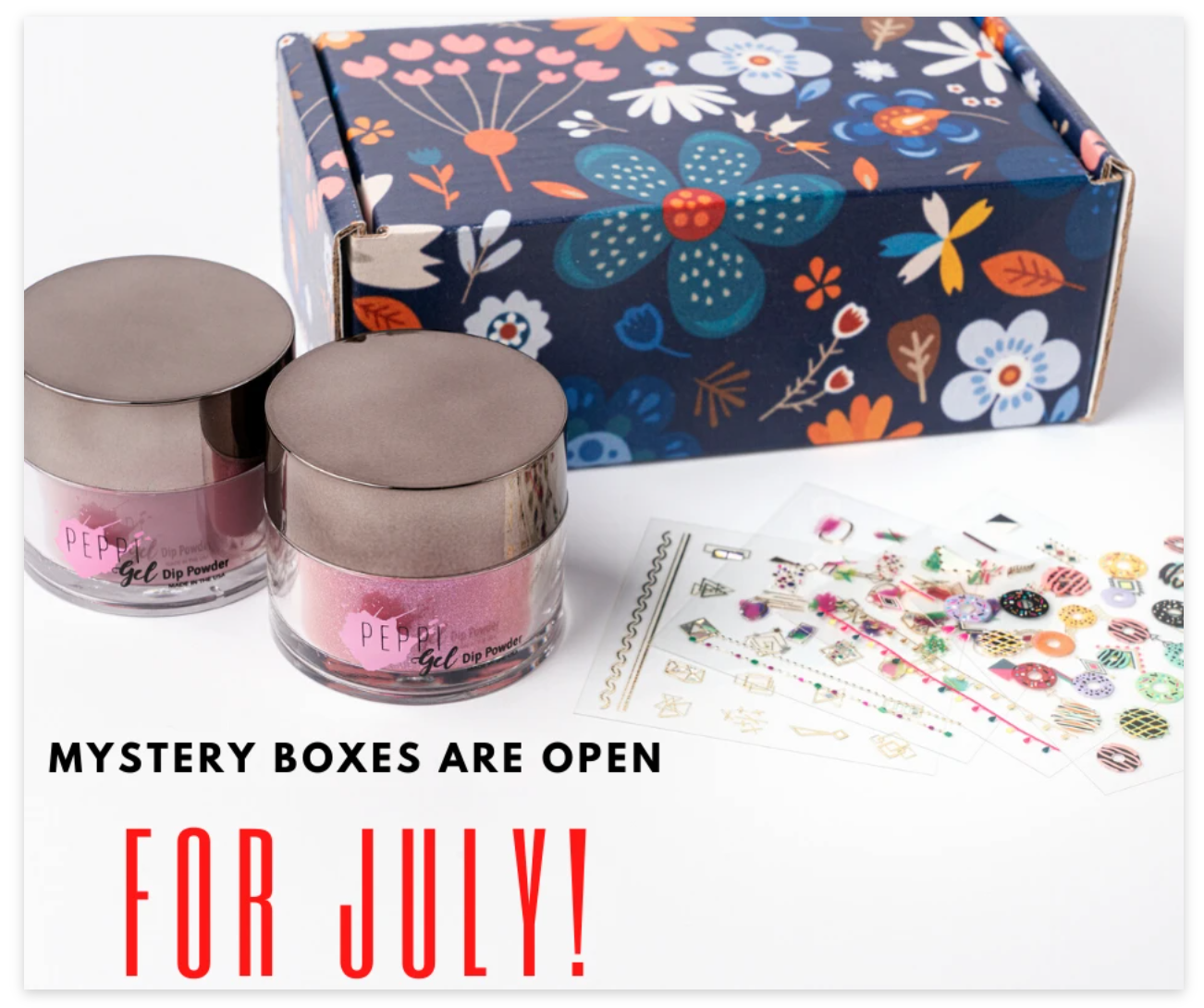 colorful mystery box with decorative paper and powder samples in little jars