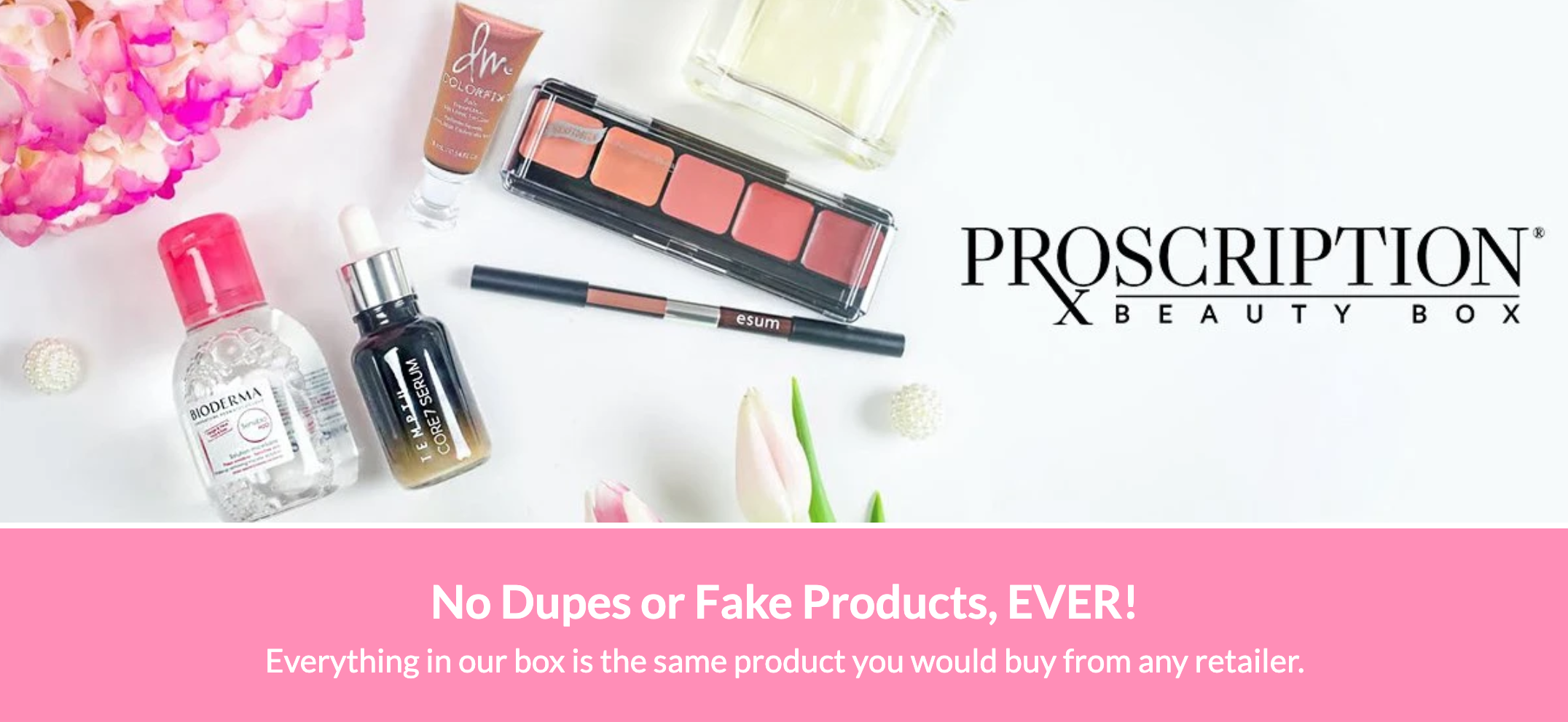 Pink and white web banner for Proscription beauty box