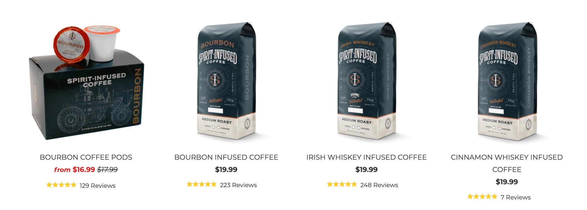 Spirit infused coffee bags