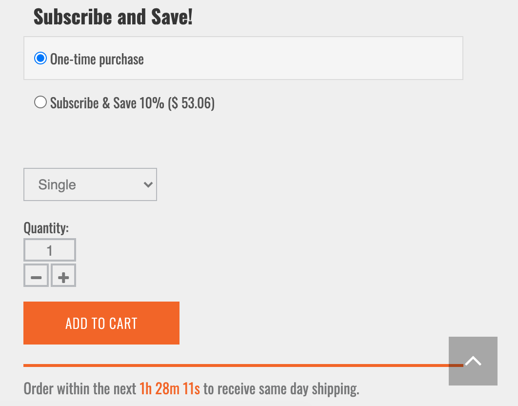 "Screenshot of ""subscribe and save"" interface"