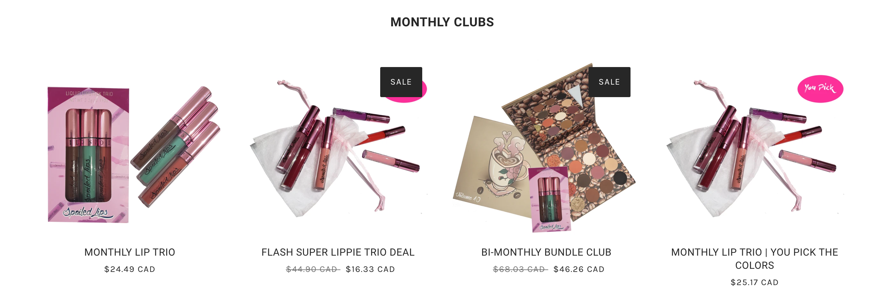 Screenshot of five different lipstick subscription packs