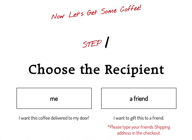 "Choose between ""me"" and a ""friend"" interface"