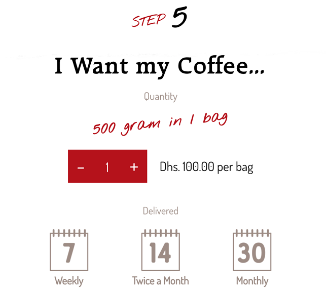 Screenshot of select your coffee bag size screen