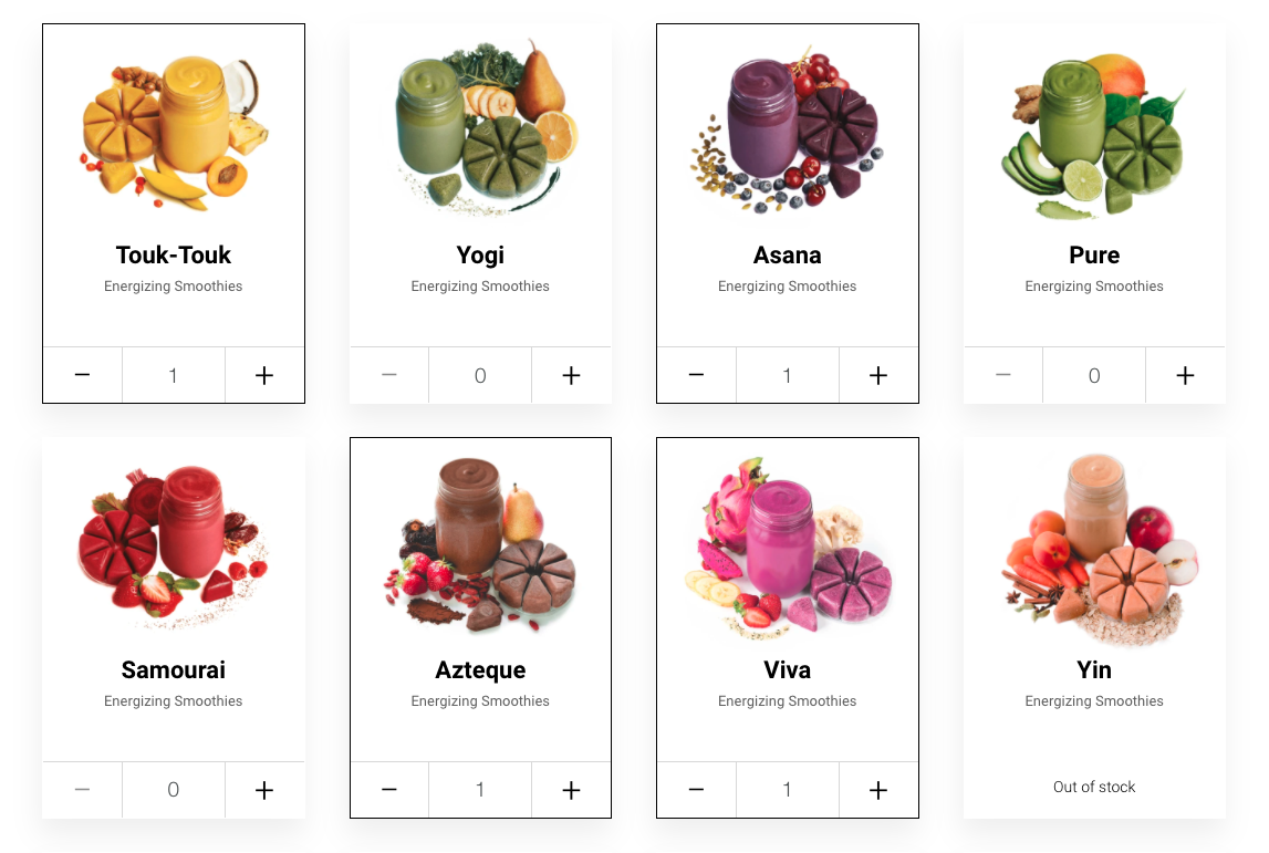 Grid of colorful product shots you can add to your box