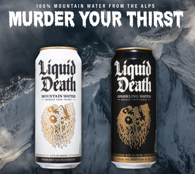 "Two cans in front of mountain backdrop with ""Murder Your Thirst"" headlines"