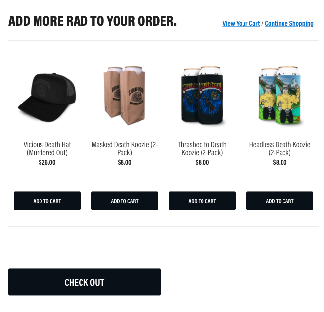 Add more merch to your order popup