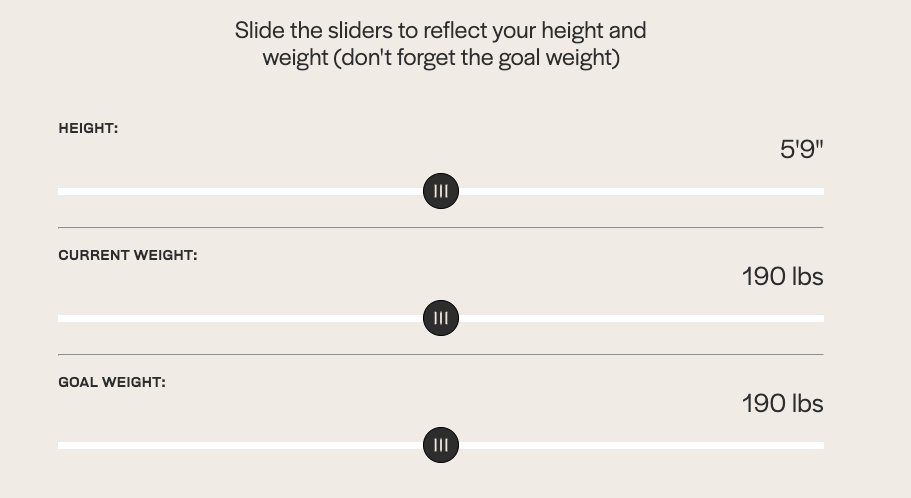 Example of onboarding question about height and weight