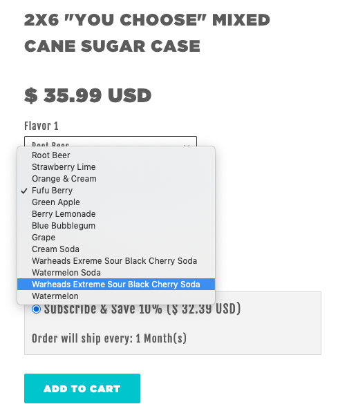 Screen shot of flavor selection menu with add to cart option