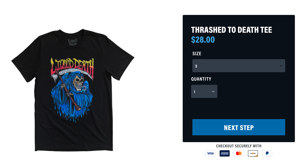 Liquid Death t-shirt with product options box
