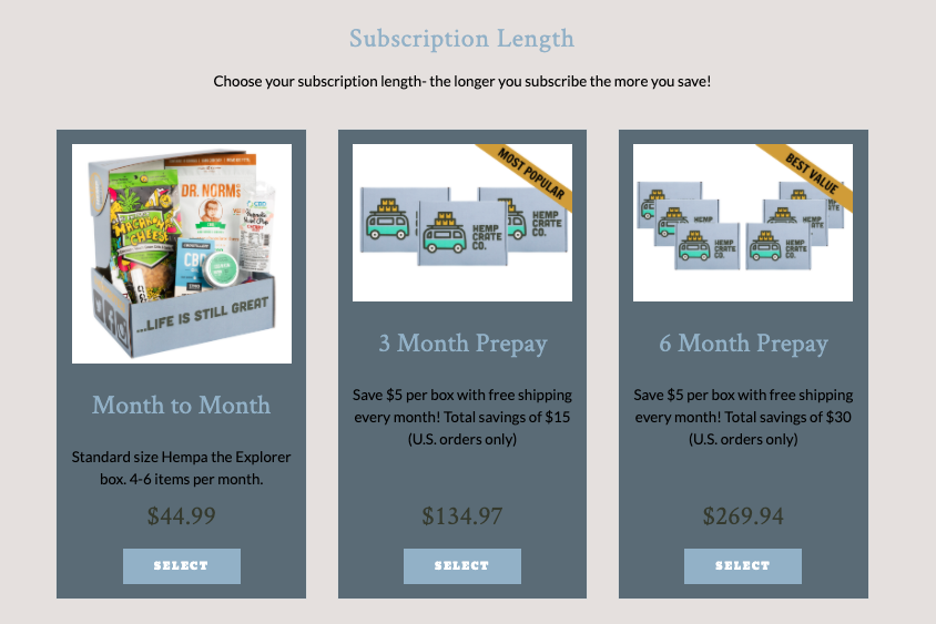 Image of three cannabis subscription options