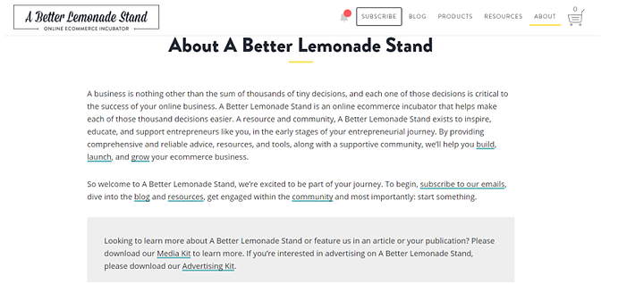 a better lemonade stand about us page