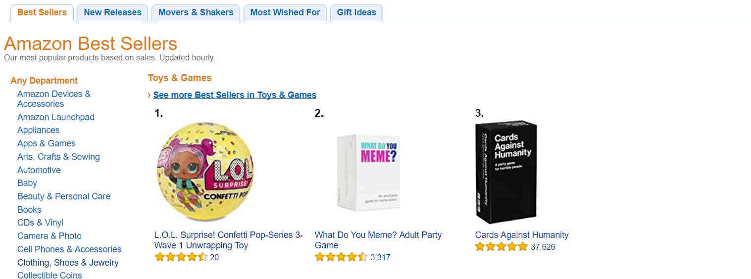 Amazon's Best Seller List