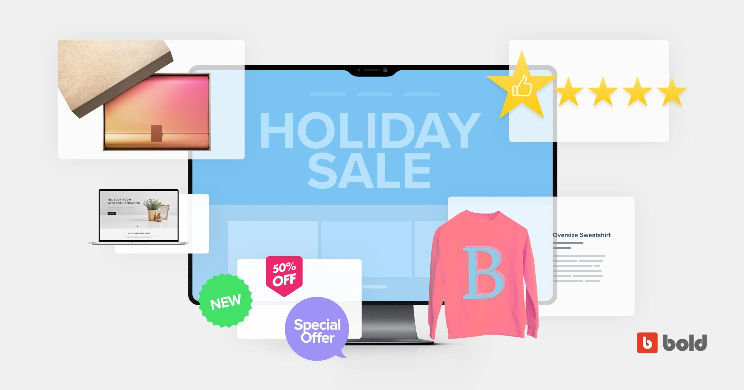 "Blog banner with ""holiday sale"""