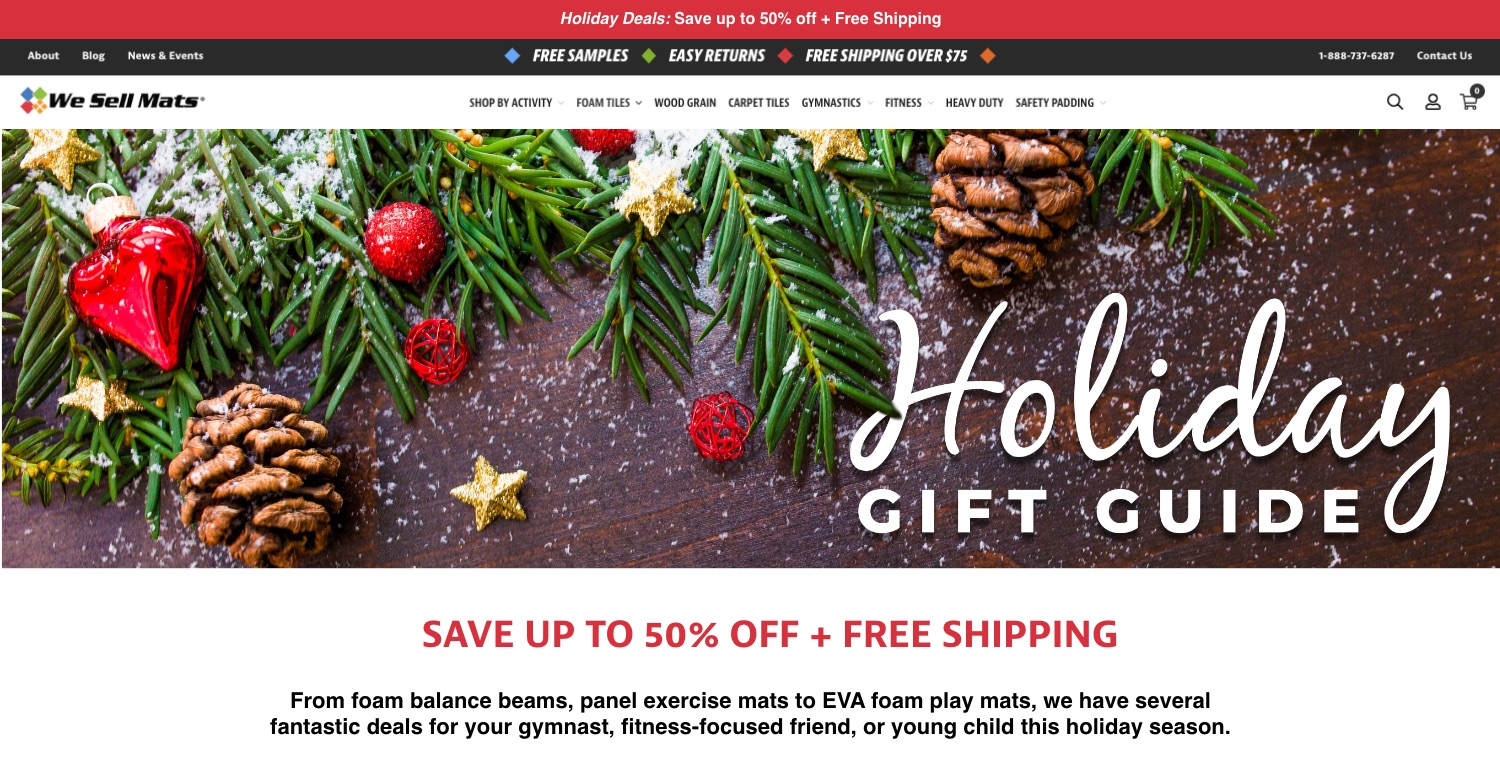 "Example of holiday landing page from ""we sell mats"""
